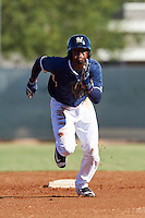 Milwaukee Brewers shortstop Luis Aviles (3) during an Instructional League game against the Cincinnati Reds on October 14, 2016 at the Maryvale Baseball Park Training Complex in Maryvale, Arizona.  (Mike Janes/Four Seam Images)