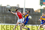 Flor O'Sullivan Kenmare in action against Cathal Murphy Rathmore in the Senior County Football Semi Final in Fitzgerald Stadium on Sunday.