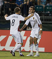 Yura Movsisyan, right, celebrates with Will Johnson after scoring his second goal, .during a 3-2 victory by Real Salt Lake in Santa Clara, California, Sept., 27, 2008. Photo by John Todd/isiphotos.com