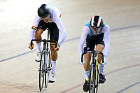 Kiaan Watts (L) of Waikato BOP and Angus Classen of West Coast North Island compete in the U17 sprint final at the Age Group Track National Championships, Avantidrome, Home of Cycling, Cambridge, New Zealand, Friday, March 17, 2017. Mandatory Credit: © Dianne Manson/CyclingNZ  **NO ARCHIVING**