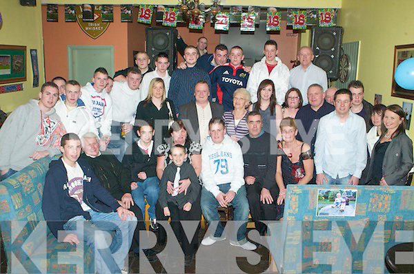 18TH BIRTHDAY: Kenneth Ryle, Mitchells Avenue (seated 5th left) celebrated his 18th birthday with family and friends in the Slieve Mish bar on Saturday night.   Copyright Kerry's Eye 2008
