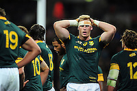 Jean-Luc du Preez of South Africa looks dejected after his side concede a try. Killik Cup International match, between the Barbarians and South Africa on November 5, 2016 at Wembley Stadium in London, England. Photo by: Patrick Khachfe / JMP