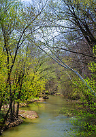 Little Raccoon Creek flows in Spring, Parke County, Indiana