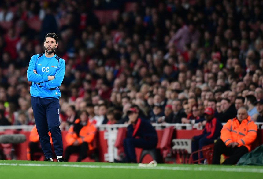 Lincoln City manager Danny Cowley <br /> <br /> Photographer Chris Vaughan/CameraSport<br /> <br /> The Emirates FA Cup Quarter-Final - Arsenal v Lincoln City - Saturday 11th March 2017 - The Emirates - London<br />  <br /> World Copyright &copy; 2017 CameraSport. All rights reserved. 43 Linden Ave. Countesthorpe. Leicester. England. LE8 5PG - Tel: +44 (0) 116 277 4147 - admin@camerasport.com - www.camerasport.com