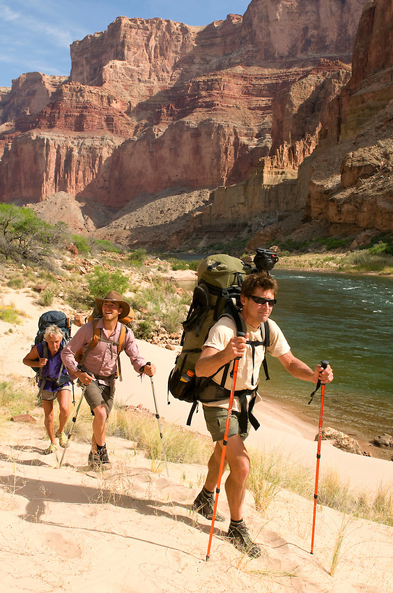 Conservationist John Davis hiking through Grand Canyon National Park as part of his 5,000 mile journey to promote Wildlife Corridors along the Continental Divide.