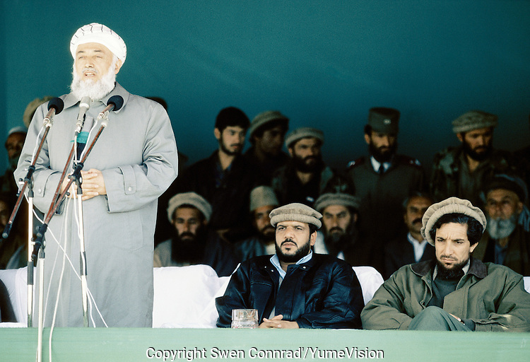 President Borhan'udin Rabani with  General Abdul Quassim Fahim and Warlord Ahmad Shah Massoud at a Mudjahedin parade, celebrating the liberation of Charikar from the communist army.