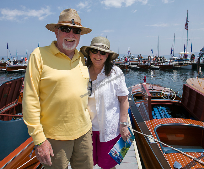 Bob and Mary Jones during the Concours d'Elegance Wood Boat Show at Lake Tahoe on Friday, August 10, 2018.