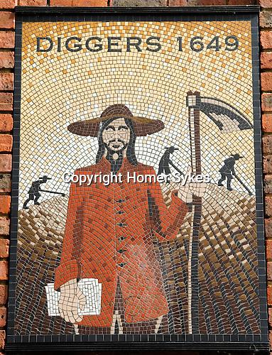Diggers memorial mosaic in Cobham Surrey UK at Hollyhedge Road.