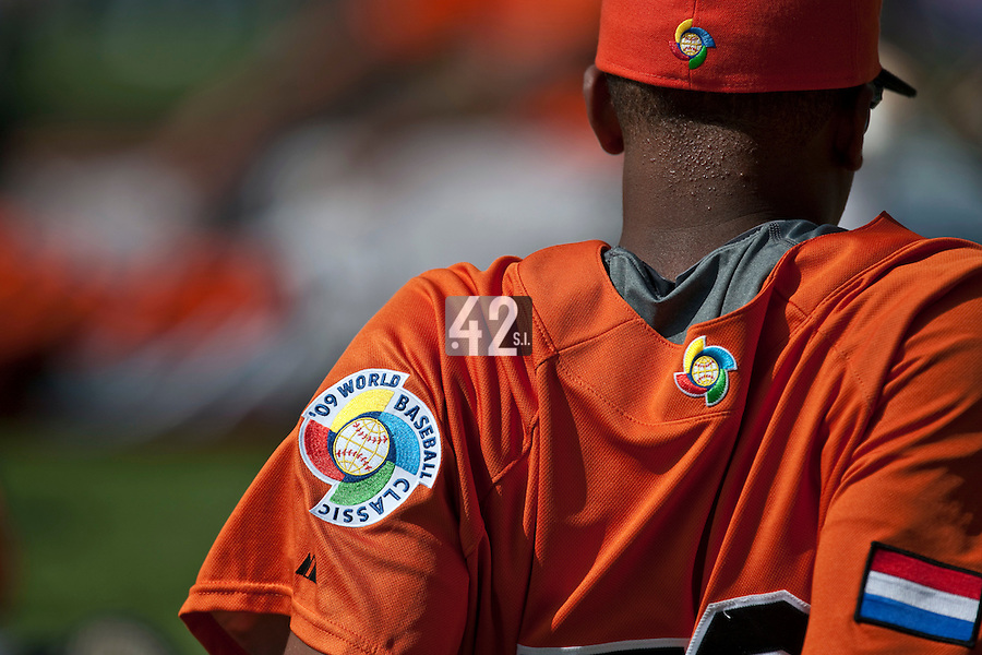 7 March 2009: The 2009 World Baseball Classic logo is seen on a netherlands jersey during the 2009 World Baseball Classic Pool D match at Hiram Bithorn Stadium in San Juan, Puerto Rico. Netherlands pulled off a huge upset in their World Baseball Classic opener with a 3-2 victory over Dominican Republic.