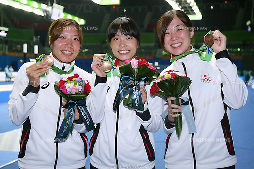 (L-R)<br /> Ayaka Shimookawa (JPN),<br /> Rie Ohashi (JPN), <br /> Ayumi Yamada (JPN), <br /> SEPTEMBER 25, 2014 - Fencing : <br /> Women's Eppe Team Victory ceremony <br /> at Goyang Gymnasium <br /> during the 2014 Incheon Asian Games in Incheon, South Korea. <br /> (Photo by Shingo Ito/AFLO SPORT)
