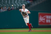 Louisiana-Lafayette Ragin' Cajuns shortstop Hayden Cantrelle (5) makes a throw to first base against the Mississippi State Bulldogs in game three of the 2018 Shriners Hospitals for Children College Classic at Minute Maid Park on March 2, 2018 in Houston, Texas.  The Bulldogs defeated the Ragin' Cajuns 3-1.   (Brian Westerholt/Four Seam Images)