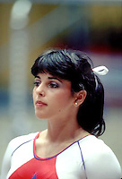 May 15, 1983; Los Angeles, California, USA; Portrait is of artistic gymnast Kelly Garrison of USA taken at USA vs USSR dual meet at Los Angeles. Copyright 1983 Tom Theobald.