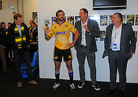 Conrad Smith introduces Prince Harry to the Hurricanes team in the changing rooms after the Super Rugby match between the Hurricanes and Sharks at Westpac Stadium, Wellington, New Zealand on Saturday, 9 May 2015. Photo: Dave Lintott / lintottphoto.co.nz