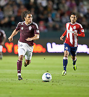Colorado Rapids forward Quincy Amarikwa (12) moves the ball up the field during the first half of the game between Chivas USA and Colorado Rapids at the Home Depot Center in Carson, CA, on March 26, 2011. Final score Chivas USA 0, Colorado Rapids 1.
