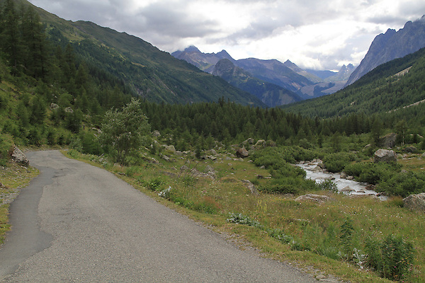 Dirt road in the Alps above Courmayeur, Italy.