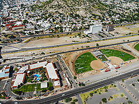 Paisaje urbano, paisaje de la ciudad de Hermosillo, Sonora, Mexico. Hotel Colonial. Synthetic grass fields, softball, big league dreams.<br /> campos de pasto sintetico, softboll,  big league dreams.<br /> Urban landscape, landscape of the city of Hermosillo, Sonora, Mexico.<br /> (Photo: Luis Gutierrez /NortePhoto)
