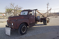 """The Tow Truck that inspired the Cars Film Character Mater. At the corner """"Four Women on the Route"""" Front and S. Main Streets, Galena, KS on old Route 66. Side View with Beer Keg"""