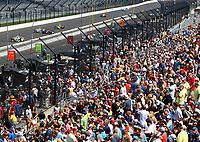 May 26, 2017; Indianapolis, IN, USA; Fans in the crowd watch IndyCar Series drivers practice during Carb Day for the 101st Running of the Indianapolis 500 at Indianapolis Motor Speedway. Mandatory Credit: Mark J. Rebilas-USA TODAY Sports