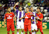 Real Valladolid´s Marc Valiente (2nd)and Jesus Rueda (4th)and Getafe's Alexis (c) during La Liga match.August 31,2013. (ALTERPHOTOS/Victor Blanco)