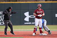 ELON, NC - FEBRUARY 28: J.P. Sponseller #5 of Elon University steals second base during a game between Indiana State and Elon at Walter C. Latham Park on February 28, 2020 in Elon, North Carolina.