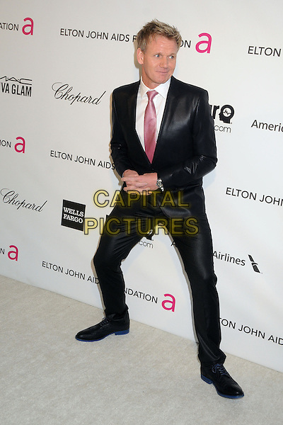 Gordon Ramsay.21st Annual Elton John Academy Awards Viewing Party held at West Hollywood Park, West Hollywood, California, USA..February 24th, 2013.oscars full length black white pink tie shirt hands legs funny .CAP/ADM/BP.©Byron Purvis/AdMedia/Capital Pictures.