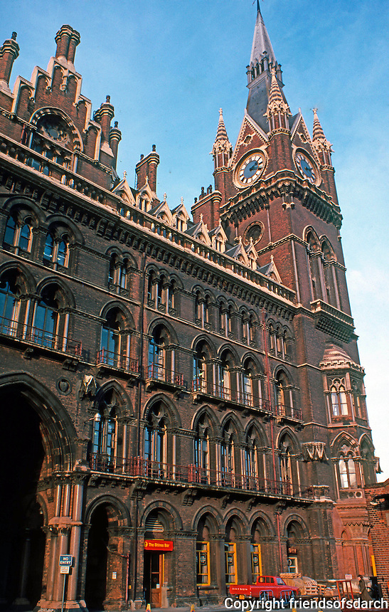 London: St. Pancras Station--Facade. Sir George Gilbert Scott.   Photo '79.