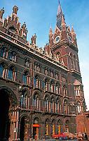 London: St. Pancras Station--Facade. Sir George Gilbert Scott.   Photo '79.