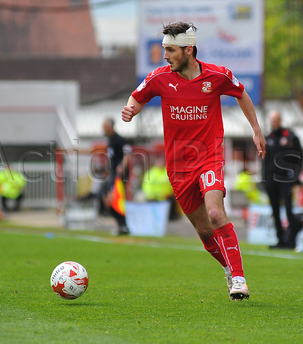 April 14th 2017, County Ground, Swindon, Wiltshire; Skybet league 1 football, Swindon Town versus AFC Wimbledon; John Goddard, midfielder for Swindon Town brings the ball forward