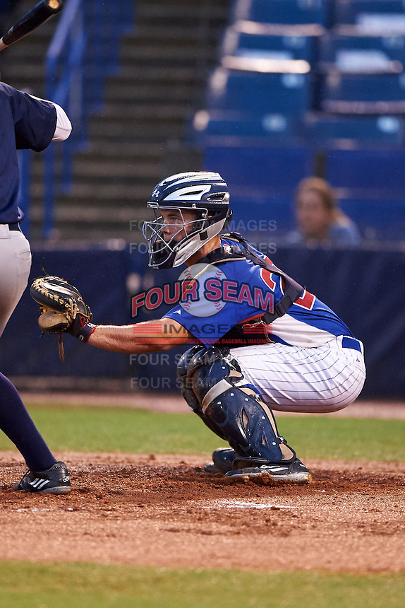 Catcher Ty Duvall (20) of Lebanon High School in Lebanon, Ohio playing for the Chicago Cubs scout team during the East Coast Pro Showcase on July 27, 2015 at George M. Steinbrenner Field in Tampa, Florida.  (Mike Janes/Four Seam Images)