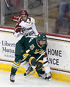 Johnny Gaudreau (BC - 13), Nick Bruneteau (UVM - 4) - The Boston College Eagles defeated the University of Vermont Catamounts 4-1 on Friday, February 1, 2013, at Kelley Rink in Conte Forum in Chestnut Hill, Massachusetts.