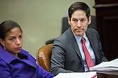 From left, Susan Rice, National Security Advisor, and Tom Frieden, Director of the Centers for Disease Control and Prevention, look on as United States  President Barack Obama speaks to the media during a meeting with his national security and public health teams concerning the government's Ebola response, in the Roosevelt Room of the White House, on November 18, 2014, in Washington, DC.  President Obama called on Congress to approve $6.2 billion in emergency spending to fight Ebola in West Africa.<br /> Credit: Drew Angerer / Pool via CNP