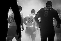 PICTURE BY VAUGHN RIDLEY/SWPIX.COM - Rugby League - Super League Magic Weekend - Catalans Dragons v London Broncos - Eithad Stadium, Manchester, England - 27/05/12 - Players head out onto the pitch.