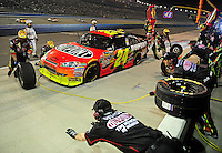 Feb 22, 2009; Fontana, CA, USA; NASCAR Sprint Cup Series driver Jeff Gordon pits during the Auto Club 500 at Auto Club Speedway. Mandatory Credit: Mark J. Rebilas-