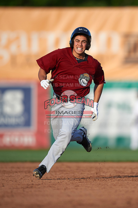 Mahoning Valley Scrappers right fielder Jodd Carter (7) running the bases during a game against the Auburn Doubledays on July 17, 2016 at Falcon Park in Auburn, New York.  Mahoning Valley defeated Auburn 3-2.  (Mike Janes/Four Seam Images)
