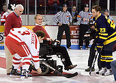 Boston University celebrated the fifth anniversary of Agganis Arena in part by repeating guests from the first game versus Minnesota including the ceremonial puck drop by Travis Roy and a long-time season ticket holder.   - The Boston University Terriers defeated the Merrimack College Warriors 6-4 (EN) on Saturday, January 16, 2010, at Agganis Arena in Boston, Massachusetts.