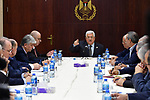 Palestinian President Mahmoud Abbas speaks during a meeting with Palestinian leaders at the Palestinian Authority headquarters, in the West Bank city of Ramallah, on February 20, 2019. Photo by Thaer Ganaim
