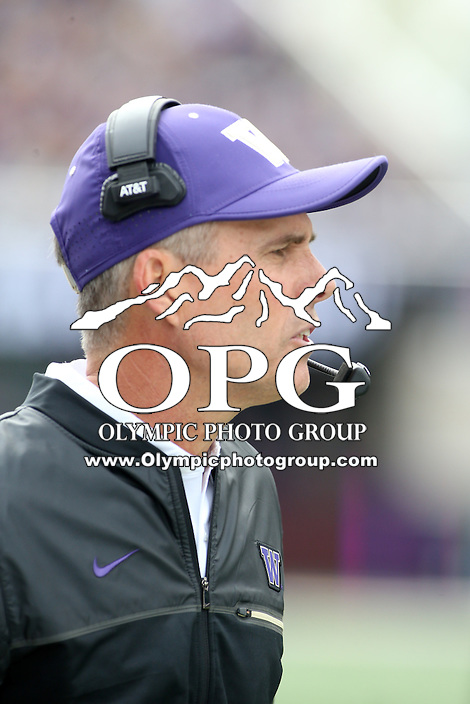 03 September 2016:  Washington head coach Chris Petersen watches his team from the sidelines against Rutgers. Washington defeated Rutgers 48-13 at the University of Washington in Seattle, WA.