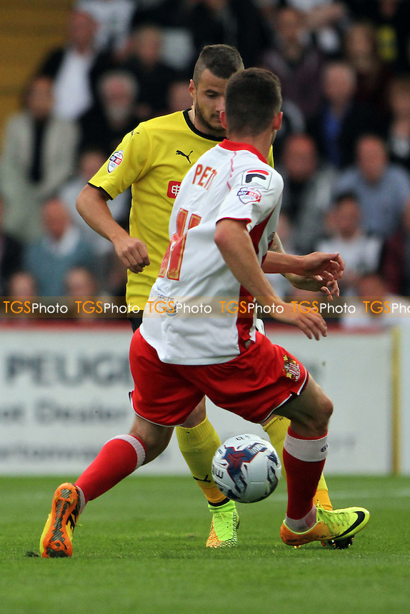 Tom Pett (Stevenage) challenges Daniel Pudil (Watford) for the ball - Stevenage vs Watford - Capital One Cup First Round Football at the Lamex Stadium, Broadhall Way, Stevenage, Hertfordshire - 12/08/14 - MANDATORY CREDIT: Mick Kearns/TGSPHOTO - Self billing applies where appropriate - contact@tgsphoto.co.uk - NO UNPAID USE