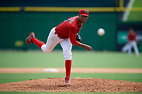 Clearwater Threshers relief pitcher Ranfi Casimiro (52) delivers a pitch during the first game of a doubleheader against the Lakeland Flying Tigers on June 14, 2017 at Spectrum Field in Clearwater, Florida.  Lakeland defeated Clearwater 5-1.  (Mike Janes/Four Seam Images)