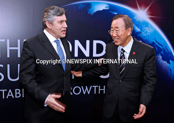 "BAN KI-MOON AND GORDON BROWN.G20 SUMMIT, Excel Centre, London_02/04/2009.Photo: Newspix International..**ALL FEES PAYABLE TO: ""NEWSPIX INTERNATIONAL""**..PHOTO CREDIT MANDATORY!!: NEWSPIX INTERNATIONAL(Failure to credit will incur a surcharge of 100% of reproduction fees)..IMMEDIATE CONFIRMATION OF USAGE REQUIRED:.Newspix International, 31 Chinnery Hill, Bishop's Stortford, ENGLAND CM23 3PS.Tel:+441279 324672  ; Fax: +441279656877.Mobile:  0777568 1153.e-mail: info@newspixinternational.co.uk"