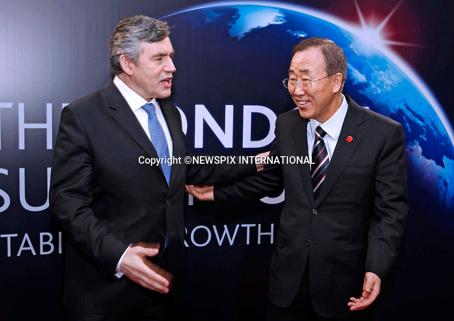 """BAN KI-MOON AND GORDON BROWN.G20 SUMMIT, Excel Centre, London_02/04/2009.Photo: Newspix International..**ALL FEES PAYABLE TO: """"NEWSPIX INTERNATIONAL""""**..PHOTO CREDIT MANDATORY!!: NEWSPIX INTERNATIONAL(Failure to credit will incur a surcharge of 100% of reproduction fees)..IMMEDIATE CONFIRMATION OF USAGE REQUIRED:.Newspix International, 31 Chinnery Hill, Bishop's Stortford, ENGLAND CM23 3PS.Tel:+441279 324672  ; Fax: +441279656877.Mobile:  0777568 1153.e-mail: info@newspixinternational.co.uk"""