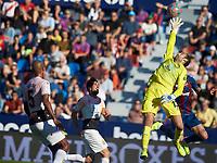 27th October 2019; Estadi Cuitat de Valencia, Valencia, Spain; La Liga Football, Levante versus Espanyol; Goalkeeper Diego Lopez of RC Espanyol misses a crossed ball - Editorial Use