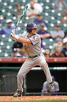 TCU Horned Frog 3B Aaron Schultz against the Texas Tech Red Raiders on Friday March 5th, 2100 at the Astros College Classic in Houston's Minute Maid Park.  (Photo by Andrew Woolley / Four Seam Images)
