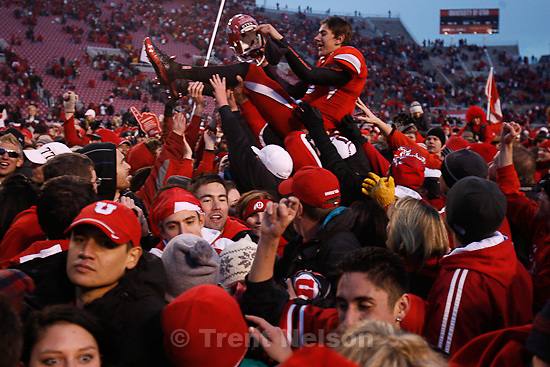 Trent Nelson  |  The Salt Lake Tribune..Fans flood the field after the Utes beat BYU on a blocked field goal attempt at Rice-Eccles Stadium Saturday, November 27, 2010. The final score was Utah 17-BYU 16. Jordan Wynn