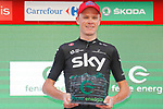 Race leader Christopher Froome (GBR) Team Sky also wins the day's combativity award on the podium at the end of Stage 16 of the 2017 La Vuelta, an individual time trial running 40.2km from Circuito de Navarra to Logro&ntilde;o, Spain. 5th September 2017.<br /> Picture: Unipublic/&copy;photogomezsport | Cyclefile<br /> <br /> <br /> All photos usage must carry mandatory copyright credit (&copy; Cyclefile | Unipublic/&copy;photogomezsport)