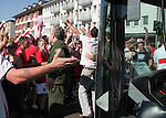 10 June 2006: England fans block the path of a city bus near FIFA Fan Fest after the game. England played Paraguay at Commerzbank Arena in Frankfurt, Germany in match 3, a Group B first round game, of the 2006 FIFA World Cup.