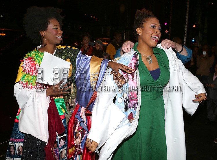 Taprena Michelle Augustine (from A Night with Janis), Rosena M. Hill Jackson and David Westphal during the Broadway Opening Night Actors' Equity Gypsy Robe Ceremony Celebrating T. Oliver Reid who declines the honor and gives it to Rosena M. Hill Jackson for 'After Midnight' at the Brooke Atkinson Theatre on November 3, 2013  in New York City.