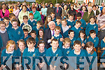 Minister Batt O'Keeffe with some of the pupils at the official opening of Holy Family NS Rathmore on Friday ..