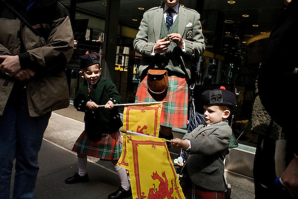 Saturday, April 14,  2007, New York, New York.. The 9th annual Tartan Day Parade was held today on 6th Avenue between 44th and 58th Streets.. Thousands turned out to play the drums, pipes and to view all those dressed for the occasion.. Robert (left) and William (right) Taylor, aged 6 and 3, play before the start of the parade.