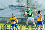 Chris O'Donoghue Kerry in action against Gearóid Cahill Clare in the Munster Minor Quarter Final at Austin Stack Park Tralee on Wednesday night.